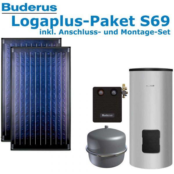 Buderus Logaplus Paket S69 mit 4,74m², silber, 2 SKN4.0-s-AD, SM300, SM100